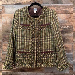 Chico's Size 1 Green & Brown Tweed Blazer
